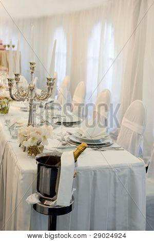 Wedding dinner in white