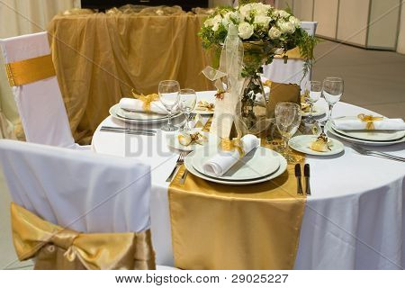 Fancy table set for a wedding dinner