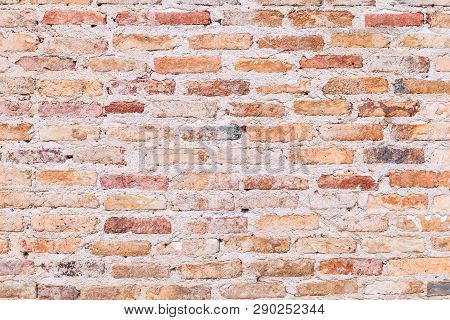 Vintage Aged Red Brown Color Baked Architectural Textured Detailed Clay Stone Brick Block Wall Struc
