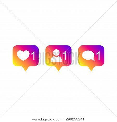 Social Media Instagram Modern Like 1, Follower 1, Comment 1 Gradient Color. Like, Follower, Comment