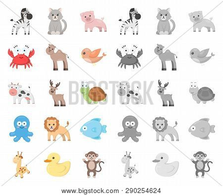 An Unrealistic Cartoon, Mono Animal Icons In Set Collection For Design. Toy Animals Vector Symbol St