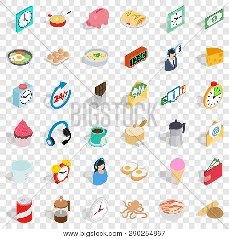 Cooking In Kitchen Icons Set. Isometric Style Of 36 Cooking In Kitchen Vector Icons For Web For Any