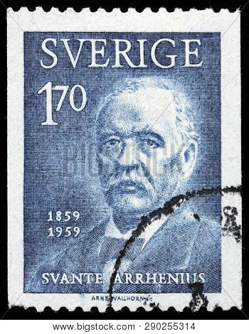 Luga, Russia - February 17, 2019: A Stamp Printed By Sweden Shows Image Portrait Of Famous Swedish S