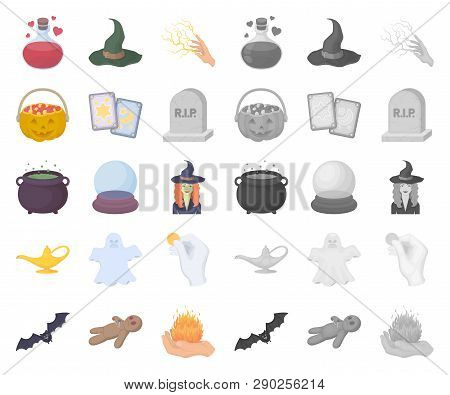 Cartoon, Mono And White Magic Cartoon, Mono Icons In Set Collection For Design. Attributes And Sorce
