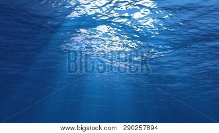 3d Rendering Of Rays Of Sunlight Shining From Above, Penetrating Deep Clear Blue Water, Resulting In