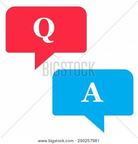 Questions And Answers Icon On White Background. Flat Style. Questions And Answers Icon For Your Web
