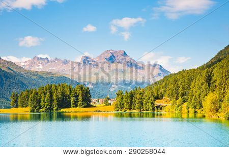 Beautiful alpine lake Champfer in beautiful summer day. Location place Silvaplana village, Swiss alps, district of Maloja, Europe. Discover the beauty of earth.