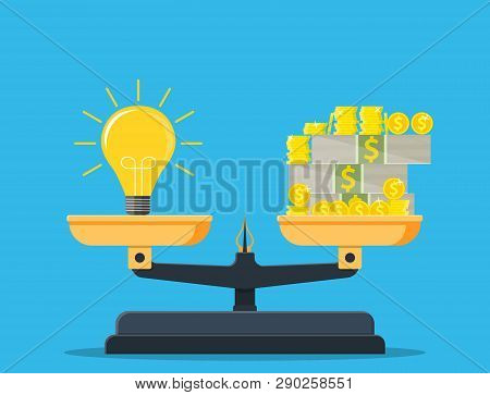 Idea And Money Stack Balance On Libra. Idea Is Money Concept. Investment In An Idea. Vector Illustra