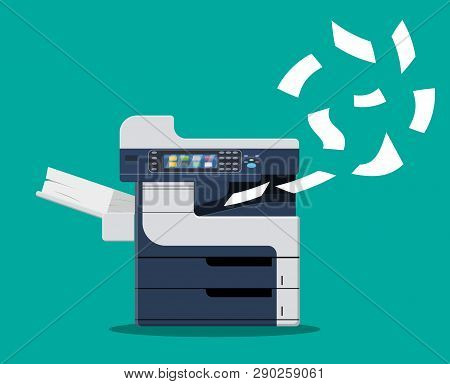 Professional Office Copier, Multifunction Printer Printing Paper Documents. Printer And Copier Machi