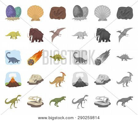 Different Dinosaurs Cartoon, Mono Icons In Set Collection For Design. Prehistoric Animal Vector Symb