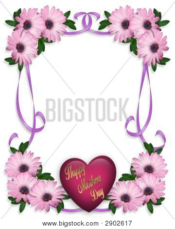Image and illustration composition for Mothers Day Floral with heart and text poster
