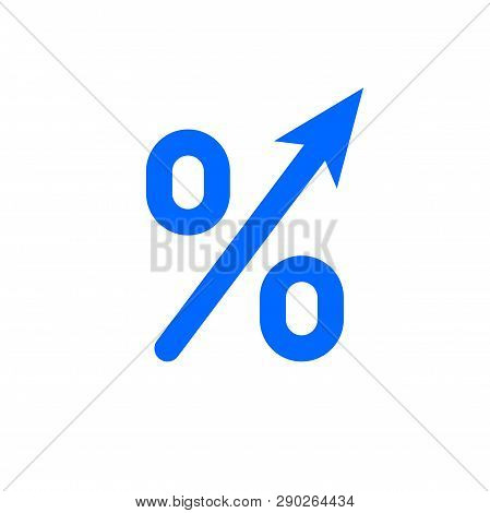 Profit High Growth Arrow And Percent Icon. Vector Gdp Profit Increase Arrow Up Symbol
