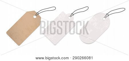 Price Tag Labels Set. Vector Sale Paper Gift Blank Pricetag With String Isolated On White Background