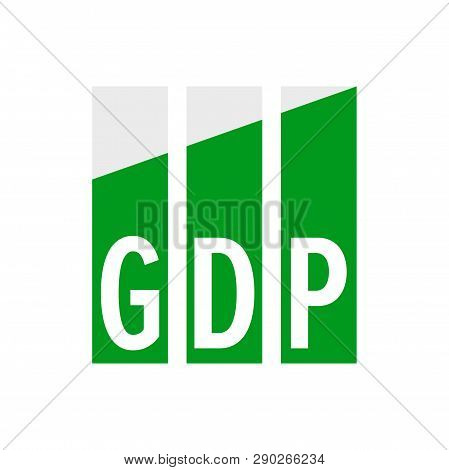 Gdp Economic Growth Vector Icon. Gross Domestic Product Increase Diagram Symbol