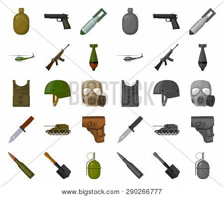 Army And Armament Cartoon, Mono Icons In Set Collection For Design. Weapons And Equipment Vector Sym