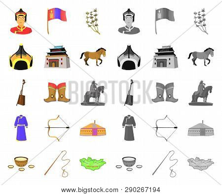 Country Mongolia Cartoon, Mono Icons In Set Collection For Design.territory And Landmark Vector Symb