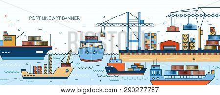 Banner Template With Seaport, Marine Terminal, Freight Vessels, Cargo Ships Containerships, Sea Wate