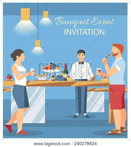 Banquet Invitation Card Flat Illustration. Guests At Banquet Party Drinking And Eating. Catering Ser