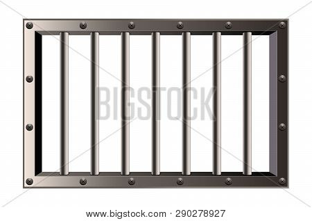 Creative Vector Illustration Of Metal Realistic Detailed Prison Bars Window Isolated On Transparent