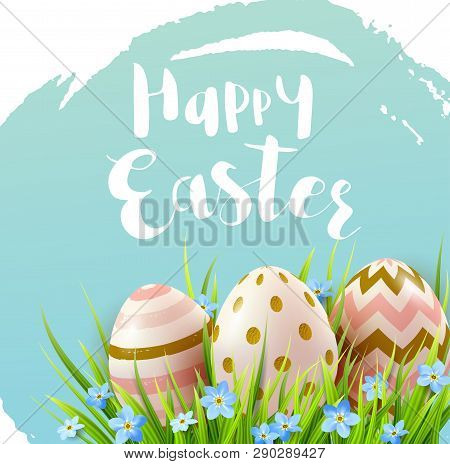 Decorative Easter Eggs, Blue Spring Flowers And Green Grass. Festive Background. Vector Illustration