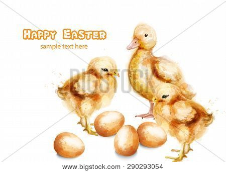 Easter Ducky And Chicks Vector Watercolor Card. Happy Easter Greetings