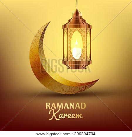 Ramadan Kareem Greeting Card Vector. Islam. Lamp. Lantern Design. Ramazan Greeting Design. Muslim Fanous, Fanoos. Islamic Season Invitation Banner Illustration poster