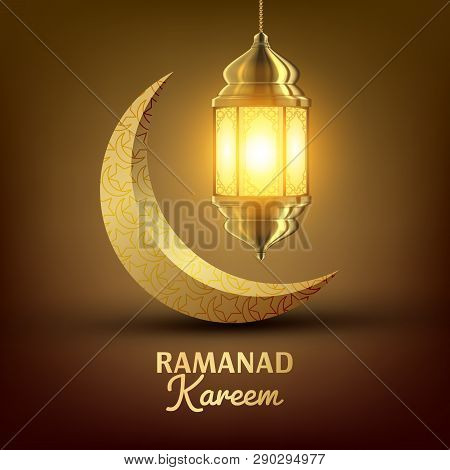 Ramadan Kareem Greeting Card Vector. Islam. Lamp. Lantern Design. Mubarak Night. Ramazan Greeting De