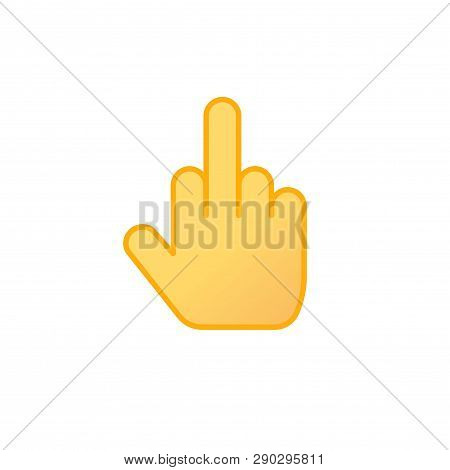 Middle Finger Icon Vector, Line Outline Art Middle Thumb Insulting Gesture Emoji Isolated Clipart