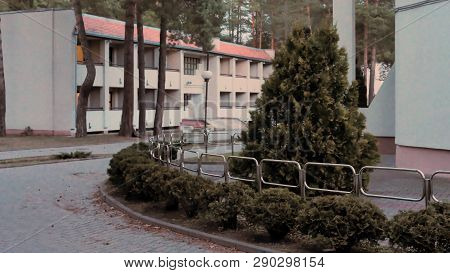 Grodno, Belarus - March 2, 2019: Sanatorium Energetik. Residential Buildings In The Pine Forest.