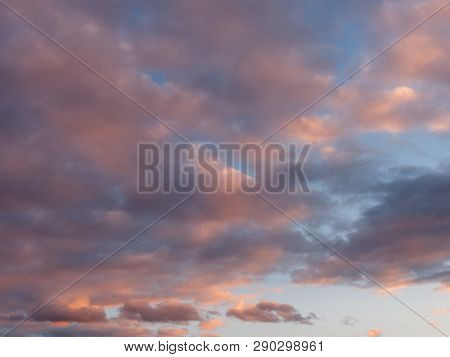 Colorful Blue Sky With Clouds At Sunset.