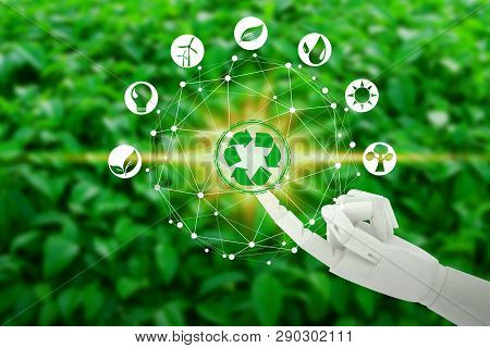 Robot Hand With Touching Virtual Environment Icons Over The Network Connection On Nature Background,