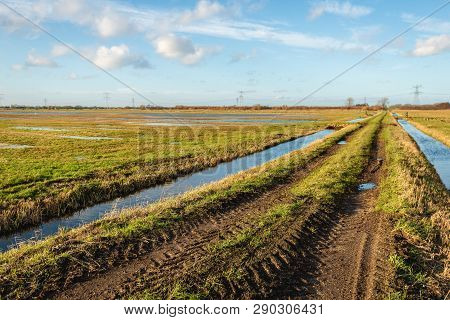 Polder Landscape With A Country Road Between Two Ditches. In The Background Are High Voltage Pylons