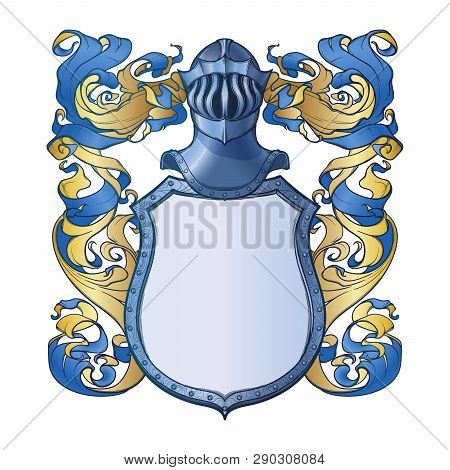 Traditional European Coat Of Arms Template. Shield, Helmet And Mantling. Element For Design Coat Of