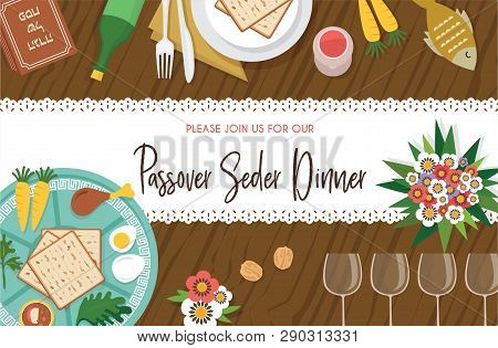 Passover Seder Table With Seder Plate And Other Elemnts-vector