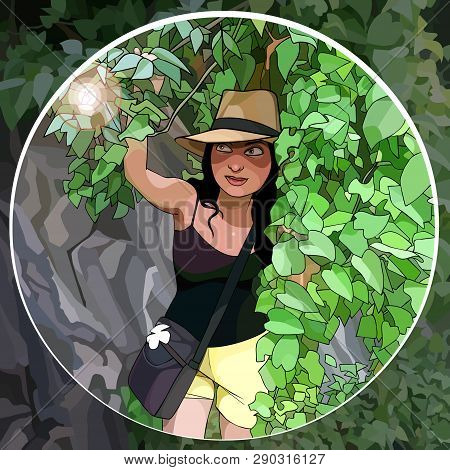 Cartoon Female Traveler With Hat Sneaking Through The Jungle