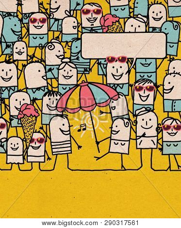 Hand drawn Cartoon People Crowd and Happy Summer Time