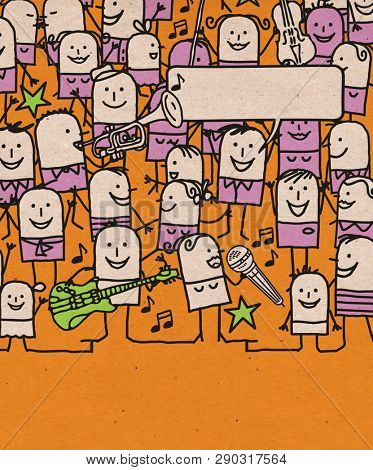 Hand drawn Cartoon People Crowd and Happy Music Festival