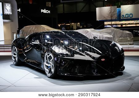 Geneva, Switzerland - March 10, 2019: Supercar Bugatti La Voiture Noire Presented At The Annual Gene