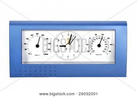Analog weather station, isolated on white