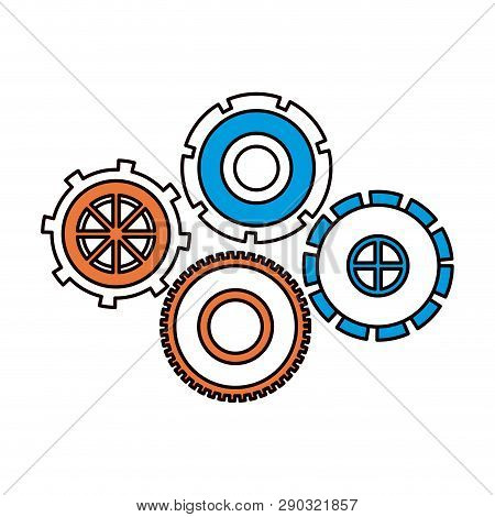 Silhouette Color Sections Of Set Cog Wheel Pinions Icon Vector Illustration