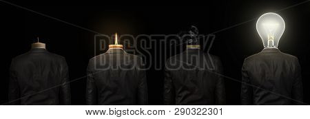 Concept Of The Idea. Men In A Suit With A Head In The Shape Of A Candles And Lightbulb Stands With H