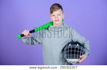 Baseball Bat And Helmet. Success. Gym Workout Of Teen Boy. Sport Game. Tools For Baseball Kid. Fitne