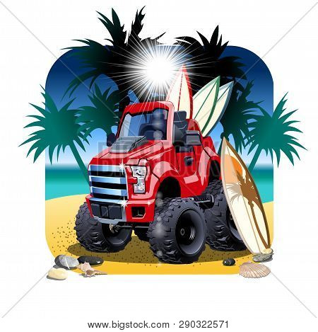 Vector Cartoon 4x4 Car On Beach Isolated