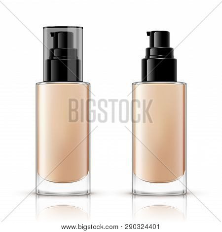 Foundation Container Mockup, Cosmetic Bottle Package Design Isolated On White Background