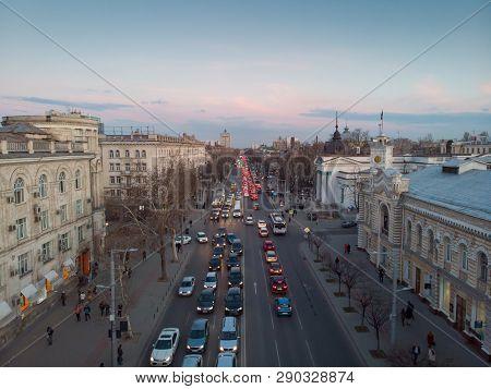 Stefan Cel Mare Central Boulevard At Sunset