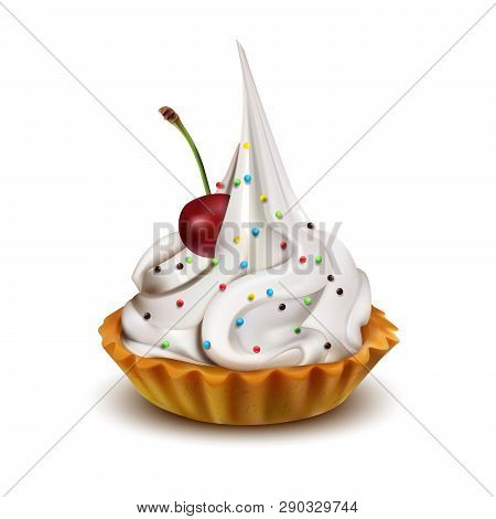 Cake With A Cherry. Vector Illustration On White Background