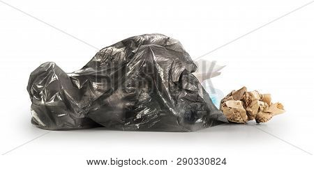 Garbage Bag With Scattered Rubbish Isolated On A White Background