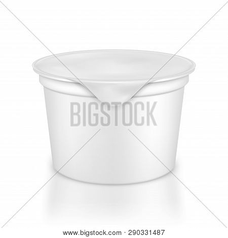 Vector Blank White Packaging Container For Yogurt, Ice Cream Or Dessert