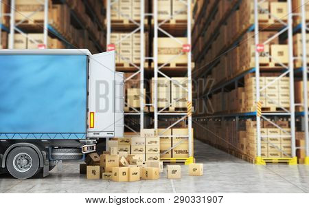 Transport For Delivery Isolated On A Warehouse Background. 3d Illustration