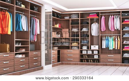Modern Wooden Wardrobe With Clothes Hanging On Rail In Walk In Closet Design Interior. 3d Illustrati